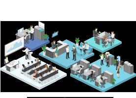 強い組織基盤をつくり、攻めながら守るスタンスで本社機能として各事業を支える。